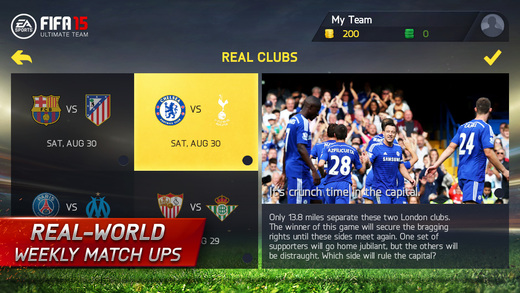 FIFA 15 Ultimate Team Real World Weekly Match Ups