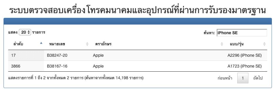 iPhone SE รุ่นที่ 2 ปี 2020 ผ่านการตรวจสอบและรับรองมาตรฐานจาก กสทช. แล้ว เตรียมจำหน่ายในไทยเร็วๆ นี้